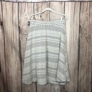 Cato White Tweed Circle Skirt Medium